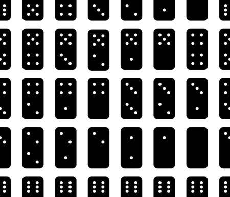 Flat linear design. Dominoes seamless pattern. White and black background. Abstract geometric shape texture. Design template for wallpapers ,wrapping, textile. Vector Illustration  イラスト・ベクター素材