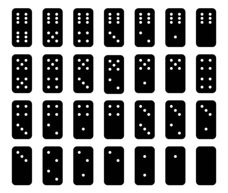 Flat linear design.Collection of black color 28 domino set with white spots ; twenty-eight tiles dominoes. Isolated on white background - Vector 일러스트
