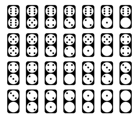 Flat linear design.Collection of black color 28 domino set with white spots ; twenty-eight tiles dominoes. Isolated on white background - Vector Ilustração