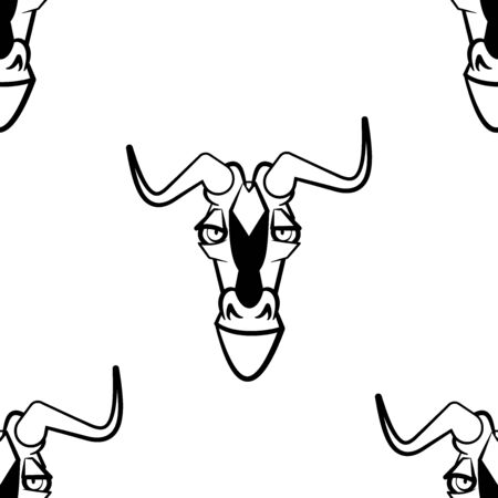 Funny cartoon antelope character. Seamless pattern. Design template for wallpapers, wrapping, textile. Black-white animal head. Vector Illustration