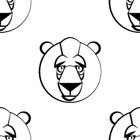 Funny cartoon bear character. Seamless pattern. Design template for wallpapers, wrapping, textile. Black-white animal head. Vector Illustration