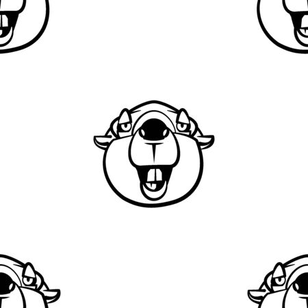 Funny cartoon beaver character. Seamless pattern. Design template for wallpapers, wrapping, textile. Black-white animal head. Vector Illustration