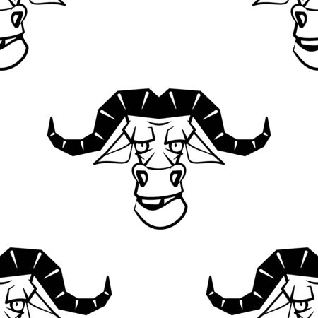 Funny cartoon bufalo character. Seamless pattern. Design template for wallpapers, wrapping, textile. Black-white animal head. Vector Illustration