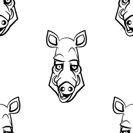 Funny cartoon boar character. Seamless pattern. Design template for wallpapers, wrapping, textile. Black-white animal head. Vector Illustration