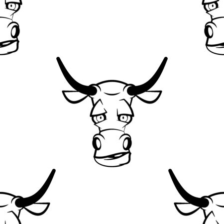 Funny cartoon bull character. Seamless pattern. Design template for wallpaper,wrapping, textile. Black-white animal head. Vector Illustration