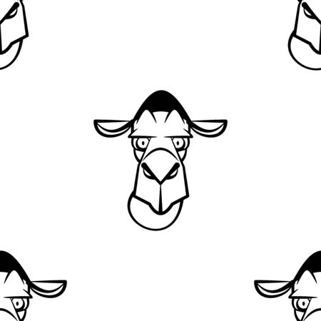 Funny cartoon camel character. Seamless pattern. Design template for wallpapers,wrapping, textile. Black-white animal head. Vector Illustration