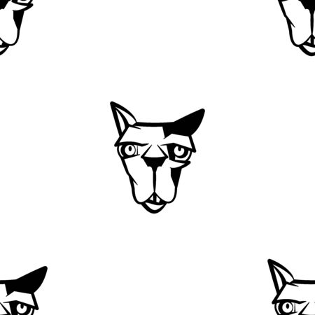 Funny cartoon cat character. Seamless pattern. Design template for wallpapers, wrapping, textile. Black-white animal head. Vector Illustration
