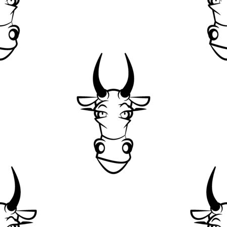 Funny cartoon cow character. Seamless pattern. Design template for wallpaper,wrapping, textile. Black-white animal head. Vector Illustration 写真素材 - 129001094