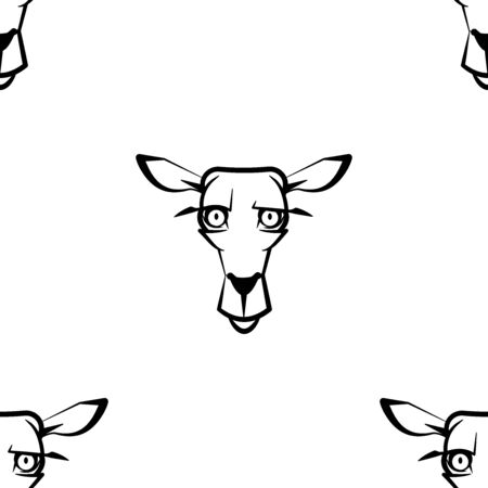 Funny cartoon dear character. Seamless pattern. Design template for wallpapers, wrapping, textile. Black-white animal head. Vector Illustration  イラスト・ベクター素材