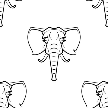 Funny cartoon elefant character. Seamless pattern. Design template for wallpapers, wrapping, textile. Black-white animal head. Vector Illustration