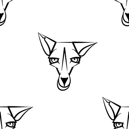 Funny cartoon foxes character. Seamless pattern. Design template for wallpapers, wrapping, textile. Black-white animal head. Vector Illustration  イラスト・ベクター素材