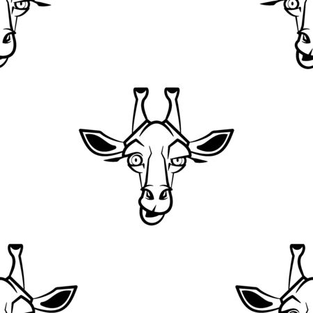 Funny cartoon girafe character. Seamless pattern. Design template for wallpapers, wrapping, textile. Black-white animal head. Vector Illustration
