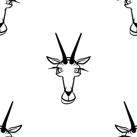 Funny cartoon goat character. Seamless pattern. Design template for wallpapers, wrapping, textile. Black-white animal head. Vector Illustration