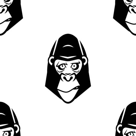 Funny cartoon gorilla character. Seamless pattern. Design template for wallpapers, wrapping, textile. Black-white animal head. Vector Illustration  イラスト・ベクター素材