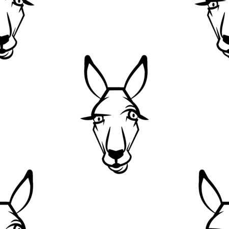 Funny cartoon kangaroo character. Seamless pattern. Design template for wallpapers, wrapping, textile. Black-white animal head. Vector Illustration