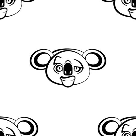 Funny cartoon koala character. Seamless pattern. Design template for wallpapers, wrapping, textile. Black-white animal head. Vector Illustration
