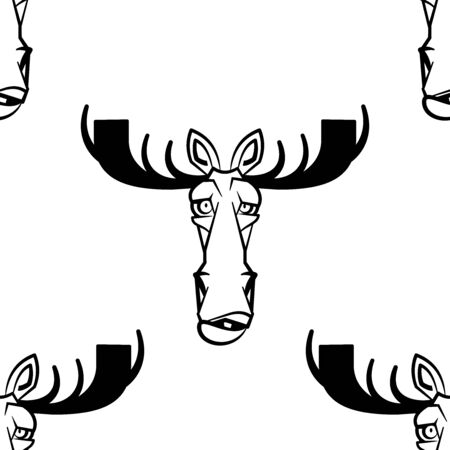 Funny cartoon moose character. Seamless pattern. Design template for wallpapers, wrapping, textile. Black-white animal head. Vector Illustration