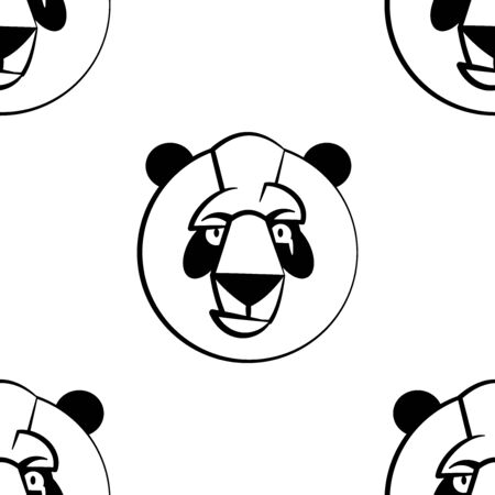 Funny cartoon panda character. Seamless pattern. Design template for wallpapers, wrapping, textile. Black-white animal head. Vector Illustration