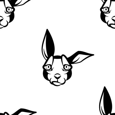 Funny cartoon rabbit character. Seamless pattern. Design template for wallpapers, wrapping, textile. Black-white animal head. Vector Illustration