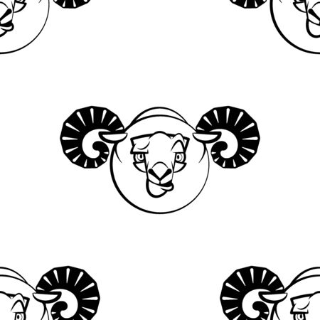 Funny cartoon ram character. Seamless pattern. Design template for wallpaper,wrapping, textile. Black-white animal head. Vector Illustration  イラスト・ベクター素材