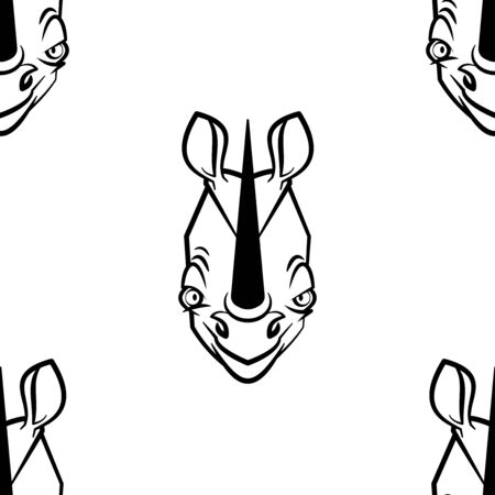 Funny cartoon rhinoceros character. Seamless pattern. Design template for wallpapers, wrapping, textile. Black-white animal head. Vector Illustration 向量圖像