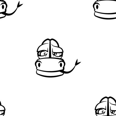 Funny cartoon snake character. Seamless pattern. Design template for wallpapers, wrapping, textile. Black-white reptile head. Vector Illustration