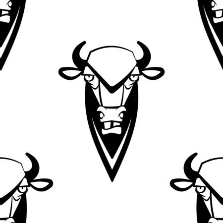 Funny cartoon bizon character. Seamless pattern. Design template for wallpapers, wrapping, textile. Black-white animal head. Vector Illustration