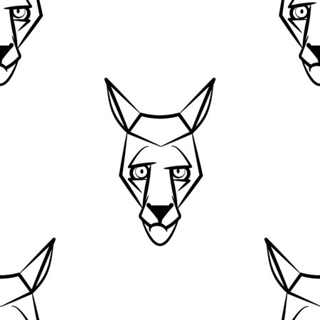Funny cartoon wolf character. Seamless pattern. Design template for wallpapers, wrapping, textile. Black-white animal head. Vector Illustration  イラスト・ベクター素材