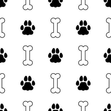 Animal footprint and bone seamless pattern. Background. Abstract geometric shape texture. Design template for wallpapers, wrapping, textile. Vector Illustration