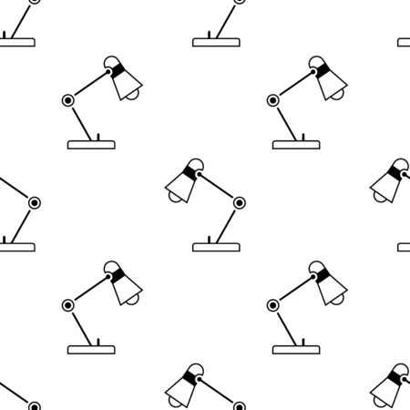 Table lamp seamless pattern. White and black background. Abstract geometric shape texture. Design template for wallpaper,wrapping, textile. Vector Illustration