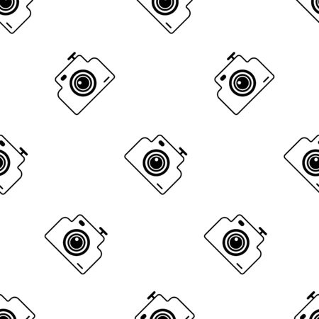 Photo camera seamless pattern. White and black background. Abstract geometric shape texture. Design template for wallpaper,wrapping, textile. Vector Illustration  イラスト・ベクター素材