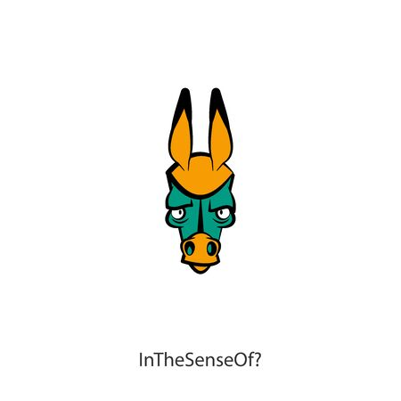 Head of a ridiculous serious donkey on a white background. Sticker, pattern, background, wall decoration. Vector illustration. Cartoon character farm animal. Need to think! In the sense of? Ilustração