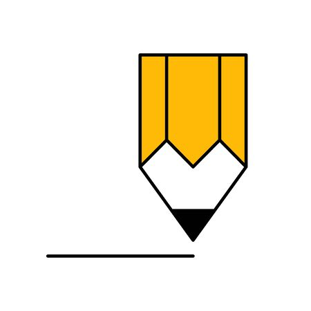 Flat linear design. Pencil icon for apps and web sites. Pencil drawn line. Vector illustration.