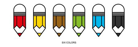 Flat linear design. Eraser Pencil icon for apps and web sites. Set of colored pencils. Six colors. Vector illustration.  イラスト・ベクター素材