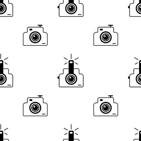 Photo camera seamless pattern. White and black background. Abstract geometric shape texture. Design template for wallpaper,wrapping, textile. Vector Illustration
