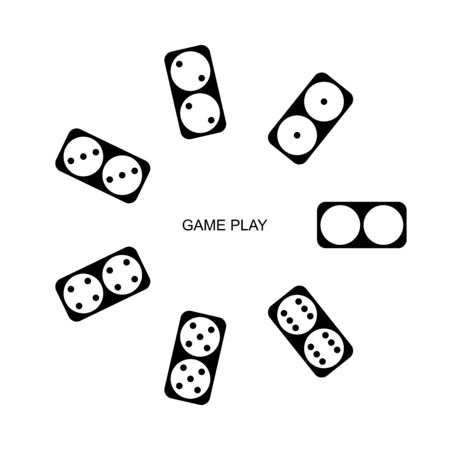 Circle of falling dominoes. Isolated on white background. Vector outline illustration. Top view. - Vector