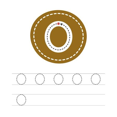 Learning to write a number - 0. A practical sheet from a set of exercises for the development and education of children. Writing a number zero. Vector illustration.