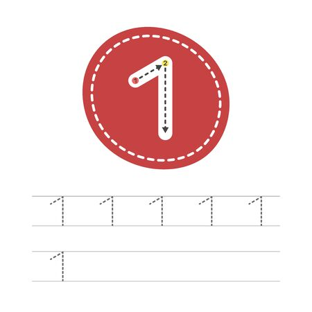 Learning to write a number - 1. A practical sheet from a set of exercises for the development and education of children. Writing a number one. Vector illustration.