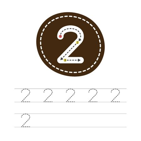 Learning to write a number - 2. A practical sheet from a set of exercises for the development and education of children. Writing a number two. Vector illustration.