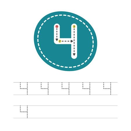 Learning to write a number - 4. A practical sheet from a set of exercises for the development and education of children. Writing a number four. Vector illustration. Illustration