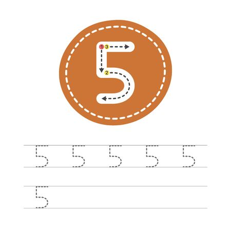 Learning to write a number - 5. A practical sheet from a set of exercises for the development and education of children. Writing a number five. Vector illustration.