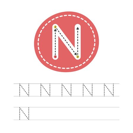 Learning to write a letter - N. A practical sheet from a set of exercises for the development and education of children. Writing a letter from the English alphabet. Vector illustration. 일러스트