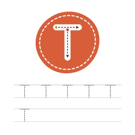 Learning to write a letter - T. A practical sheet from a set of exercises for the development and education of children. Writing a letter from the English alphabet. Vector illustration.