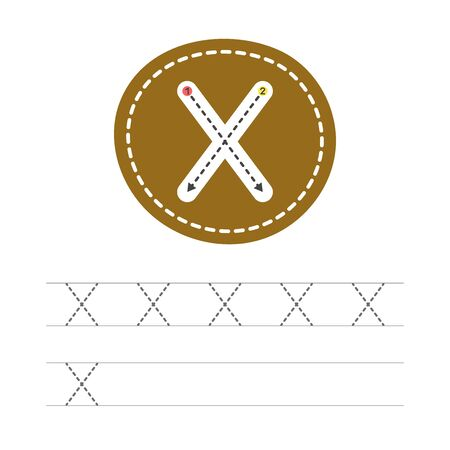 Learning to write a letter - X. A practical sheet from a set of exercises for the development and education of children. Writing a letter from the English alphabet. Vector illustration.