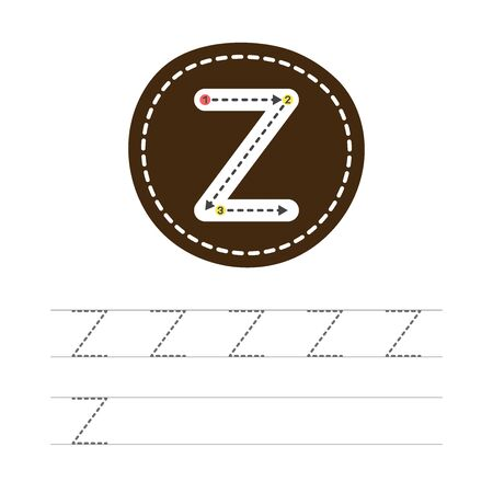 Learning to write a letter - Z. A practical sheet from a set of exercises for the development and education of children. Writing a letter from the English alphabet. Vector illustration.