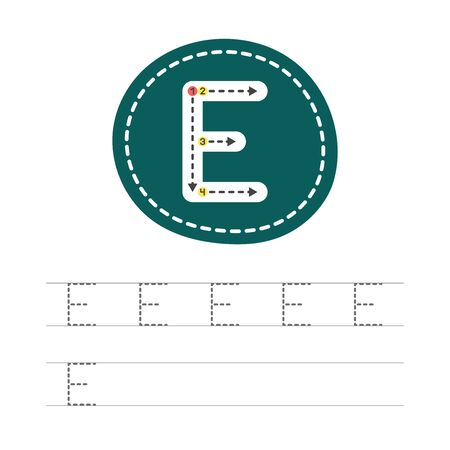 Learning to write a letter - E. A practical sheet from a set of exercises for the development and education of children. Writing a letter from the English alphabet. Vector illustration.