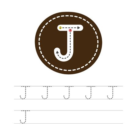 Learning to write a letter - J. A practical sheet from a set of exercises for the development and education of children. Writing a letter from the English alphabet. Vector illustration.