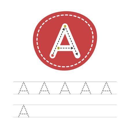 Apprendre à écrire une lettre - A. Une fiche pratique issue d'une série d'exercices pour le développement et l'éducation des enfants. Écrire une lettre de l'alphabet anglais. Illustration vectorielle.
