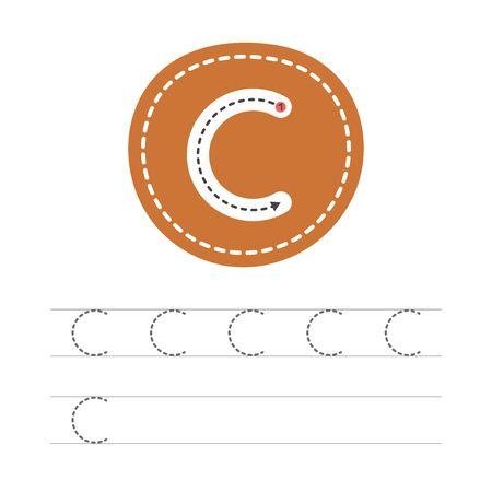 Learning to write a letter - C. A practical sheet from a set of exercises for the development and education of children. Writing a letter from the English alphabet. Vector illustration.