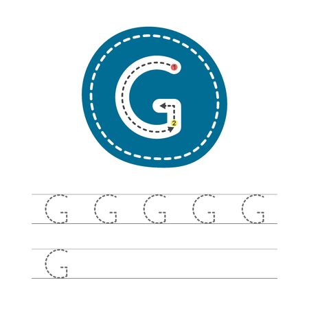 Learning to write a letter - G. A practical sheet from a set of exercises for the development and education of children. Writing a letter from the English alphabet. Vector illustration.